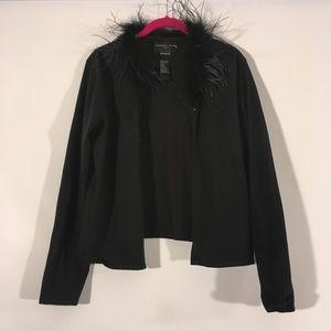 August Silk Black Ostrich Feather Cardigan L
